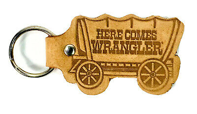 Vintage Wrangler Stamped Leather Keychain Covered Wagon