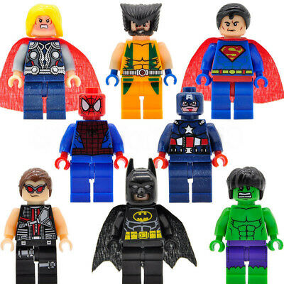 8 Pcs Marvel Avengers Mini Figures Fit Lego Hulk Superman Thor Batman Spider-man