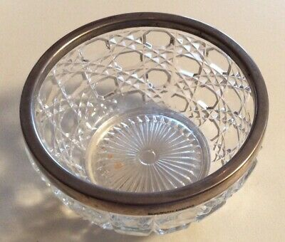 Collectable Pressed Glass Heavy Bowl With Silver Plated ( English) Rim