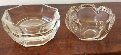 2 Very Heavy Thick Cut Glass Vintage ?salt Cellars For Dining Table