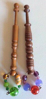 2 Spangled Wooden Lace Bobbins- For Gimp Thread- Free Postage