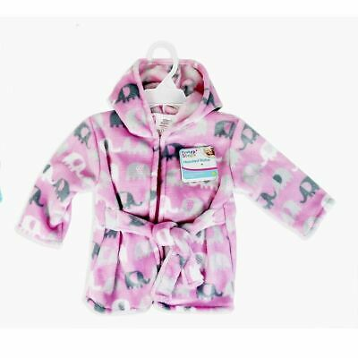 First Steps Baby Hooded Robe One Size Elephant design Pink Dressing Gown
