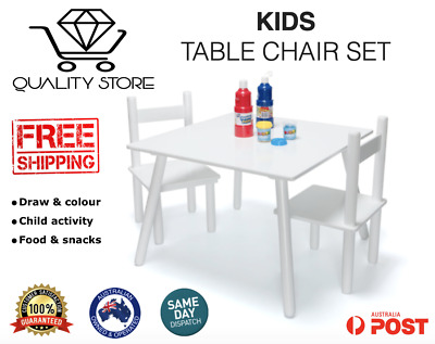 Wooden Art & Craft Table and 2 Chairs Set for Kids Children Toddler - White