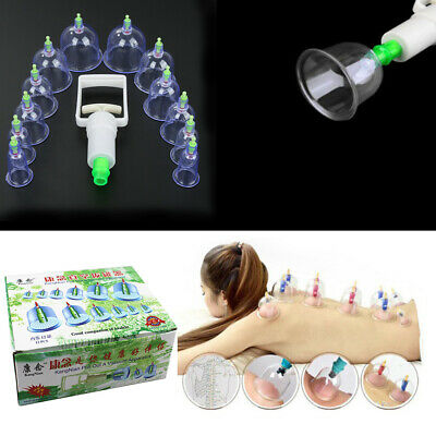 12 Cups Medical Chinese Vacuum Body Cupping Massage Healthy Therapy Suction Set