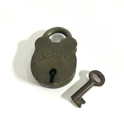 Classic Old Vintage Collectable Brass 'Jacksons'  Padlock (Lock) and Key