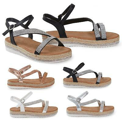 Shelikes Womens Diamante Espadrilles Ankle Strap Summer Holiday Wedge Heel Shoes