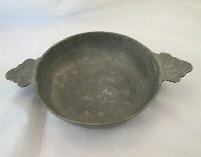 A Large 19th Century French Pewter Wine Taster / Dish / Bowl - Named - E