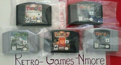 Nintendo 64 Turok 5 carts Lot, AUTHENTIC N64 Games only, 1, 2(G+B), 3, Rage Wars