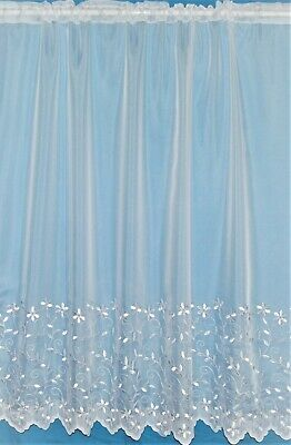 Daisy A White Voile Straight Has Sheen Embroidered Base Net Curtain By The Metre