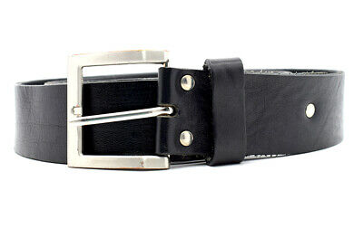Warren & Parker Original Vintage Mens Real Leather Belt Black Size 36
