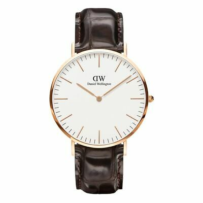 Orologio Classic York in Pelle Daniel Wellington DW00100011 40mm Cassa Gold Rose