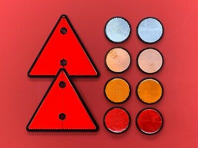 Reflector Set for Horseboxes/Trailers 2 Red Triangle 8 Self Adhesive Round