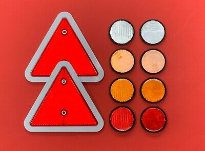 Reflector Set 2 Red Triangle (white edge) 8 Self Adhesive Round for Trailer