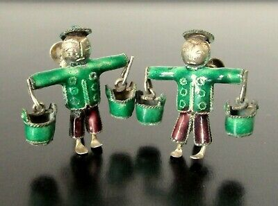 Vtg Antique Chinese Silver Enamel Articulated Water Carrier Man Earrings