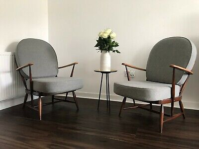 Mid Century Beech and Wool Armchair by Ercol, 1960s