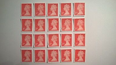 20 Unfranked Red First Class Security Stamps (Off Paper - No Gum)