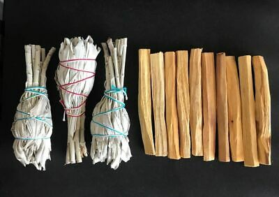 12 Palo Santo Wood & 4 White Sage Smudge Torch: Cleansing Negativity Removal new
