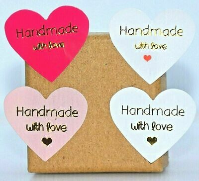 Heart Shape Thank You Hand Made With Love Labels Stickers Gift Food Craft Box