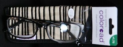 FOSTER GRANT COLOREAD Premier PLASTIC FRAME READING GLASSES New W/ CASE +1.75
