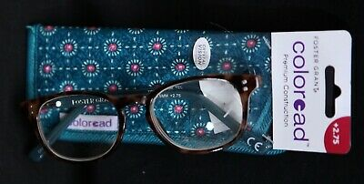 Foster Grant Coloread Premium Teal Plastic Frame Reading Glasses W/ Case +2.75