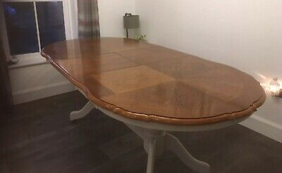 Inlaid Oak French Style Dining Table French Grey 1.7m Extendable To 2.13m In