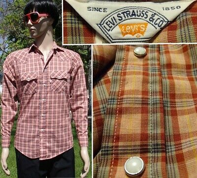vintage 70s LEVI'S western shirt pearl snap lightweight no iron plaid mens small