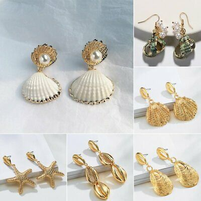 Retro Boho Natural Pearl Conch Shell Bohemia Earrings Dangle Drop Party Beach