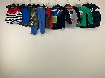 Baby Boys 9/12 Months Clothes Bundle Gilet Shirts Mickey Pooh Swimming Pants