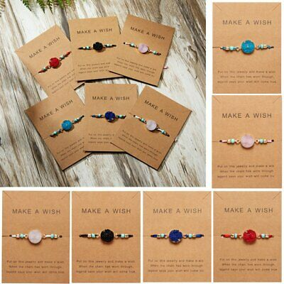 Trendy Natural Stone Crystal Chain Make a Wish Card Bracelets Cuff Bangle Party