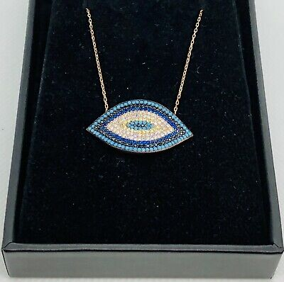 Evil Eye Luck Charm CZ Pendant Turkish Nazar Greek .925 Sterling Silver Necklace