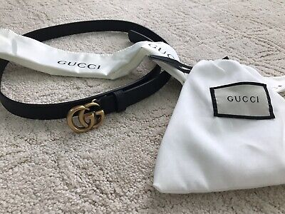 b442183622f BRAND NEW GUCCI Black Leather Double G Buckle Belt Size 95CM 32-34IN ...