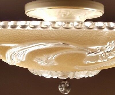 Vintage cream glass semi-flush original 1940s - Art Deco - Porcelain chandelier