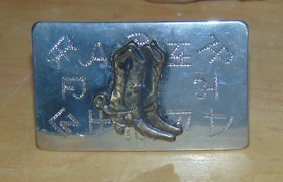 Vintage Belt Buckle W/Boots Cattle Brands Silvertone Chambers Belt Co-5 1/4x2