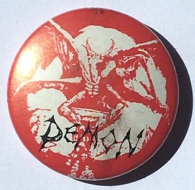 DEMON - Old Vtg 1980`s Button Pin Badge 25mm NWOBHM Heavy Metal(not patch shirt)