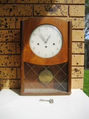 1940s Vintage Mauthe German Wall Mantle Clock with Pendulum and Winding Key