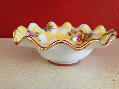 RARE Mackenzie Childs Honeymoon Yellow Rose Petal Flutted Ruffled Bowl 8 1/2""