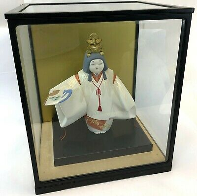 "Vintage JAPAN 11"" Ceramic Toru Zo Noh Theater Hakata Doll w/ Glass Display Case"