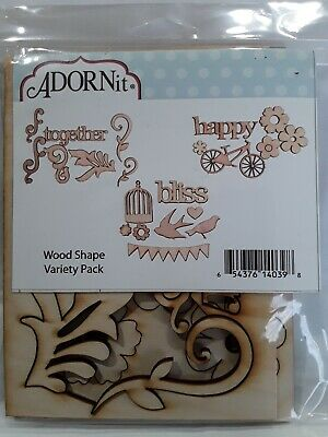 Adornit lazer cut wood shapes variety pack 3 pieces together happy and bliss new