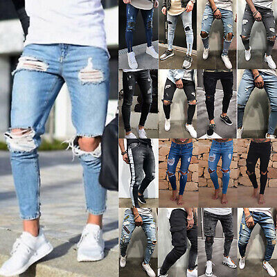 Mens Jeans Stretchy Frayed Trousers Slim Fit Skinny Denim Pants Destroyed Ripped