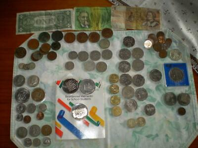 90 + assorted coins Collectable used condition Australian, usa,uk etc free post