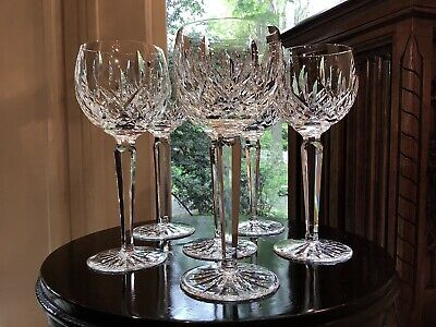 "Waterford Irish Crystal Lismore 7 3/8"" Hock Wine Glasses (6) Original Ireland"