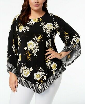 9d77ebd017f Alfani Women's Plus SIZE Printed Pointed-Hem Top Black Sun Floral 2X