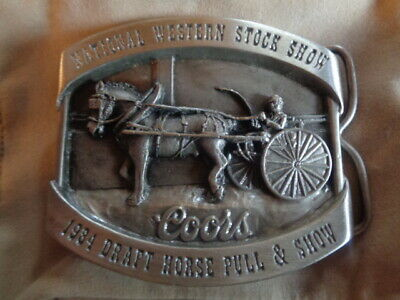 1984 Coors Belt Buckle National Western Stock Show Draft Horse Pull Cowboy