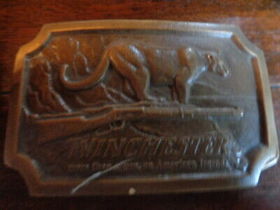 Winchester Belt Buckle Indiana Metal Craft Vintage 1976 Gun Tiger Fire Arms