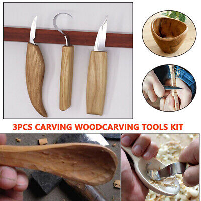 3pc Carving Woodcarving Tools Kit Hook Spoon Knives