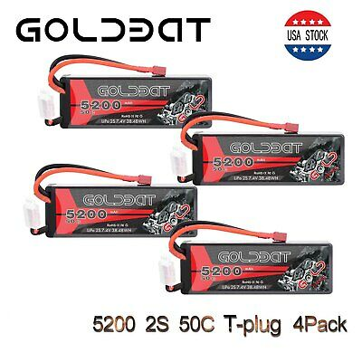 4X GOLDBAT 5200mAh 50C 7.4V 2S LiPo Battery Hardcase Deans Plug for RC Car Truck