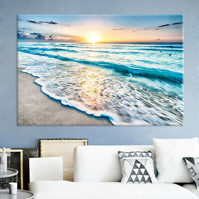 Canvas Painting Oil Painting Wall Art Poster Sunshine and Beach Prints Decor