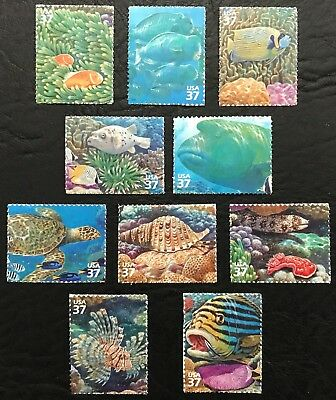 2003 - Scott #3831a-j - 37¢ - PACIFIC CORAL REEF - set of 10 Singles, MNH