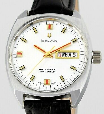 Vintage Minty Swiss BULOVA Day Date Automatic 25 Jewels Mens Wrist Watch