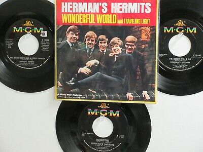 LOT OF 4 ' HERMAN'S HERMITS ' HIT 45's+1P(Copy) [Wonderful World]  THE 60's!
